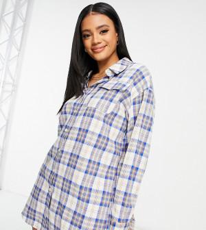 Платье-рубашка в голубую клетку Missguided-Голубой
