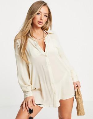 Пляжная рубашка с карманом Missguided-Белый