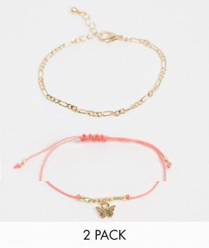 Набор из 2 золотистых браслетов с подвеской в виде бабочки ASOS DESIGN-Золотистый