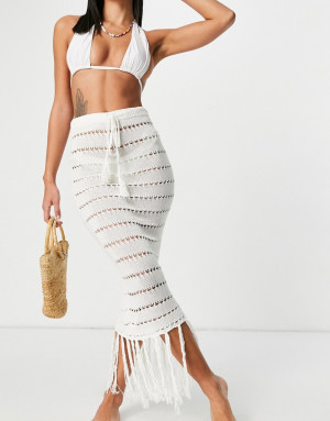 Кремовая юбка ажурной вязи с кисточками (от комплекта) Missguided-Белый