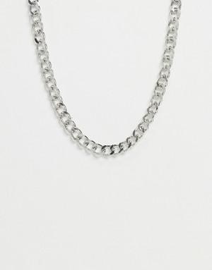 Серебристое ожерелье-цепочка с крупными звеньями Pieces-Серебристый