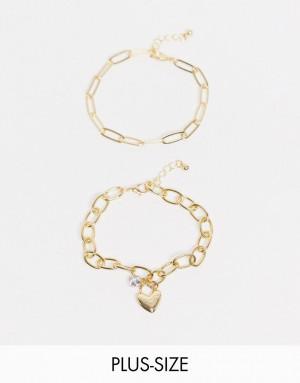Массивный золотистый браслет-цепочка с подвеской в виде сердца DesignB London Curve