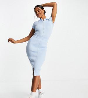 Голубая юбка миди в рубчик (от комплекта) Missguided-Белый