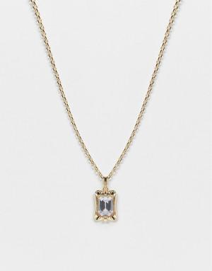 Ожерелье из 18-каратного золота с подвеской-жетоном с прозрачным камнем Chained & Able-Золотистый