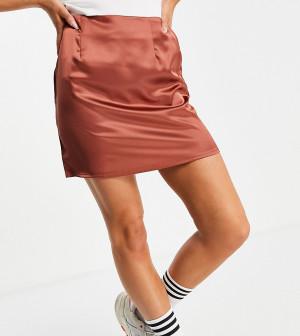 Атласная мини-юбка шоколадного цвета от комплекта Missguided-Коричневый цвет