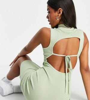 Шалфейно-зеленое платье миди в рубчик с открытой спиной и высокой горловиной (от комплекта) Missguided-Зеленый цвет