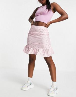 Мини-юбка розового цвета с цветочным принтом и оборкой по нижнему краю от комплекта Missguided-Розовый цвет