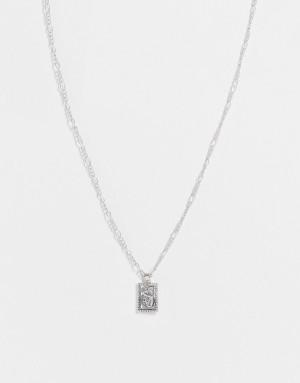 Серебристое ожерелье с квадратной подвеской с изображением дракона Topshop-Серебристый