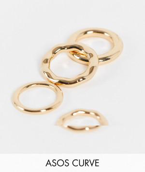Набор из 4 золотистых колец с трубчатым дизайном ASOS DESIGN Curve-Золотистый ASOS Curve