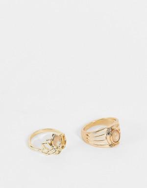 Набор золотистых колец с дизайном в виде лотоса и серыми камнями Accessorize-Золотистый