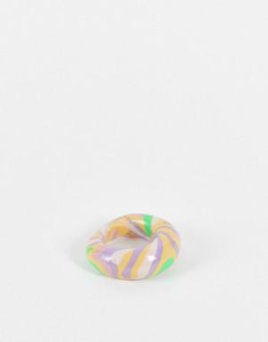 Куполообразное кольцо из «мраморного» цветного каучука ASOS DESIGN-Разноцветный