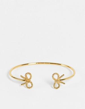 Золотистый незамкнутый браслет с бантиками в винтажном стиле Olivia Burton
