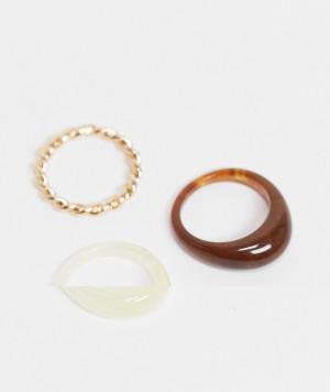 Набор из 3 колец с черепаховым принтом, из пластика и золотистого с перекрученным дизайном ASOS DESIGN-Многоцветный
