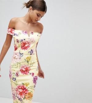Платье миди с широким вырезом и цветочным принтом эксклюзивно от Missguided-Желтый