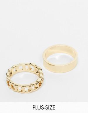 Набор из 2 эксклюзивных золотистых колец с массивным и цепочным дизайном DesignB London Curve-Золотистый