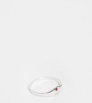 Кольцо из стерлингового серебра с искусственным рубином для рожденных в июле Kingsley Ryan Curve-Серебряный